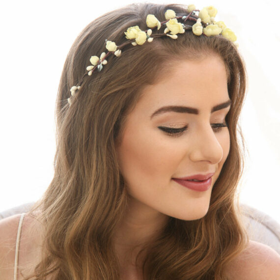 yellow rose flower crown vintage flowers woodland wedding boho headband garden wedding headpiece