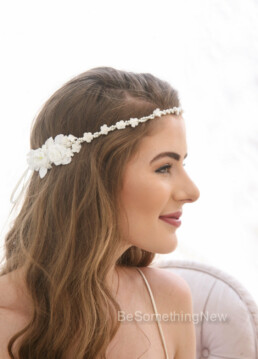 first communion vintage flower crown pearl headband wedding headpiece tie headpiece