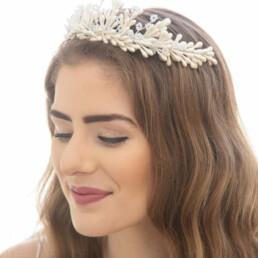 vintage wax flower tara pearlized wedding crown