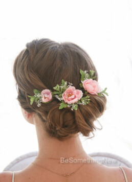 Pink Flower Hair Pins Set of Three for Bridesmaids or Brides