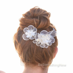Vintage Lace Wedding Headpiece, Flower Hair Accessories, Bridal Hair Clip Set Wedding Hair Comb, Flower Wedding Hair Pins Ivory Bridal Hair Accessory Set