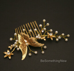 Gold Metal Butterfly Comb, Beaded Golden Boho Hair Accessory, wedding day hair accessories for the bride or beridesmaids bridal hair comb