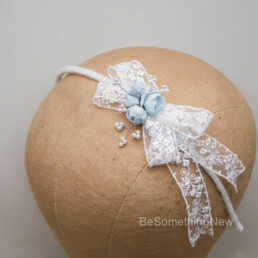 lace bow in blue and white Childs headband flower girl headpiece