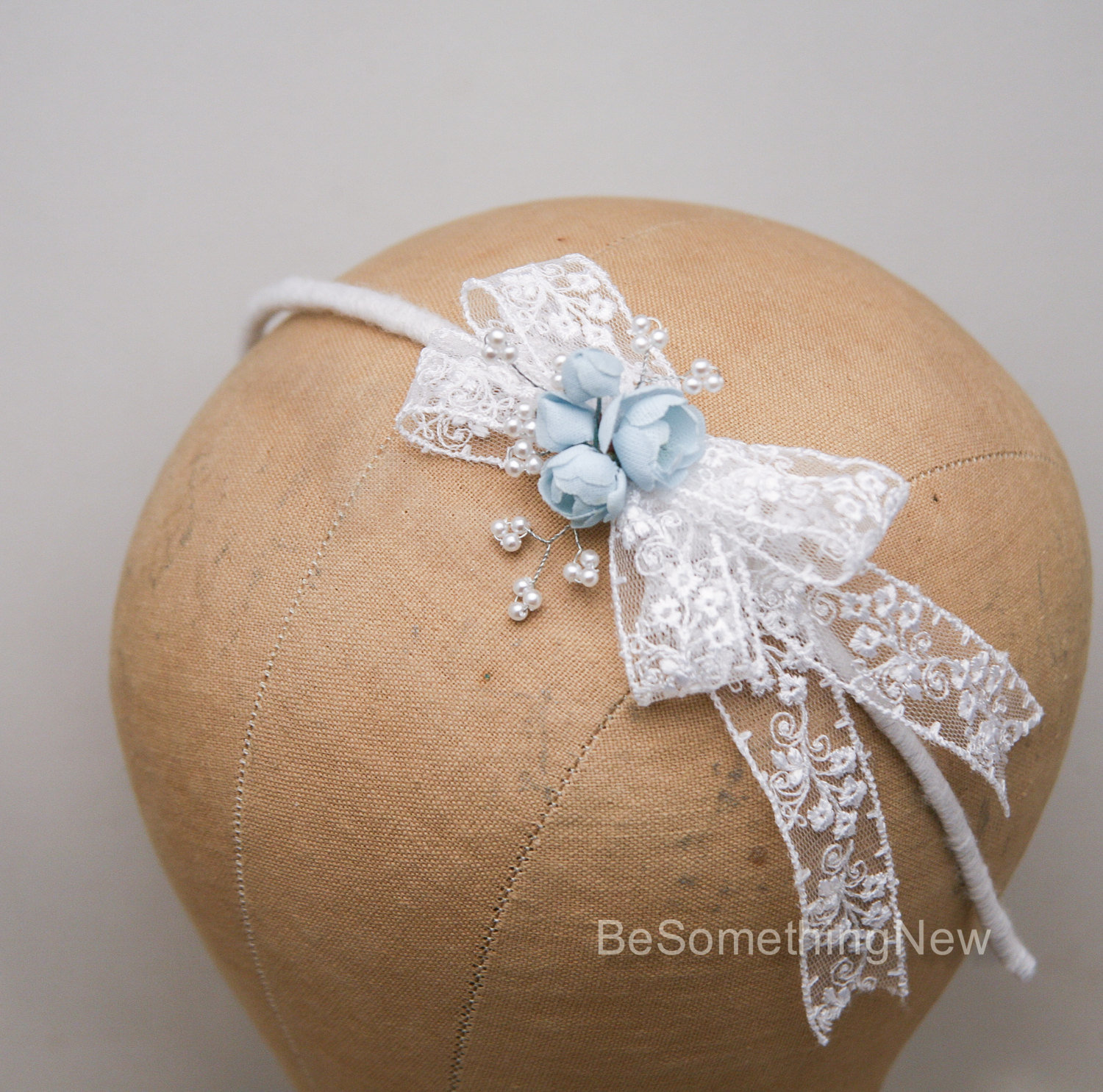 Little Girl White And Blue Bow Headband Made From Vintage Lace And