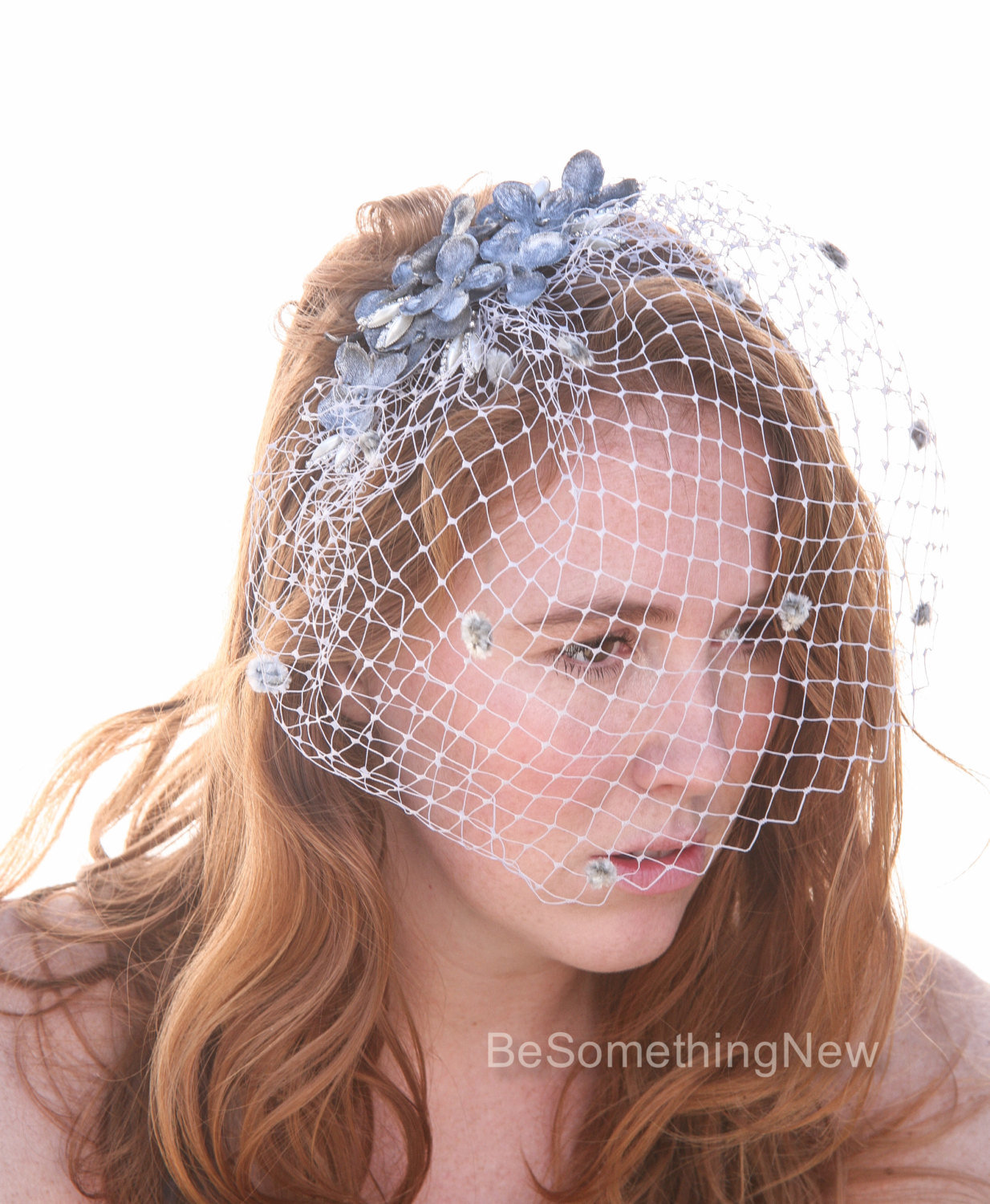 Vintage Silver Birdcage Veil With Silver Gray Velvet Flowers Birdcage Bridal Veil Grey Floral Wedding Hair Headpiece