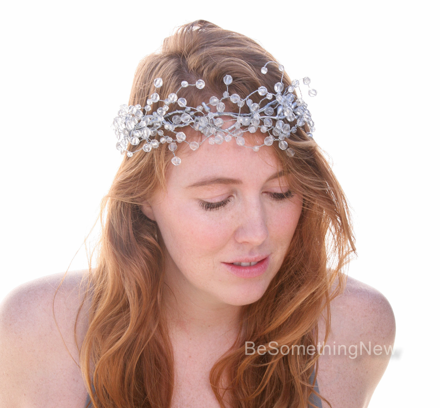 Silver And Crystal Wired Bridal Crown Wreath Headpiece Beaded Flower New Years Eve Party Winter Wedding Holiday Hair Vine Be Something