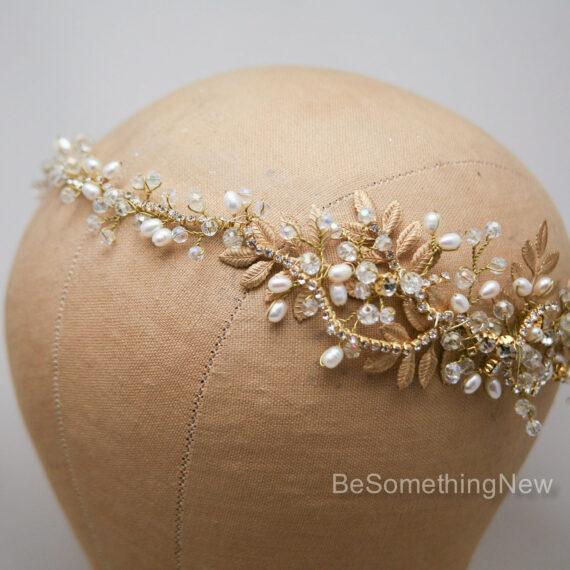 Gold Rhinestone Hair Vine gold wedding headpiece with metal leaves and rhinestones