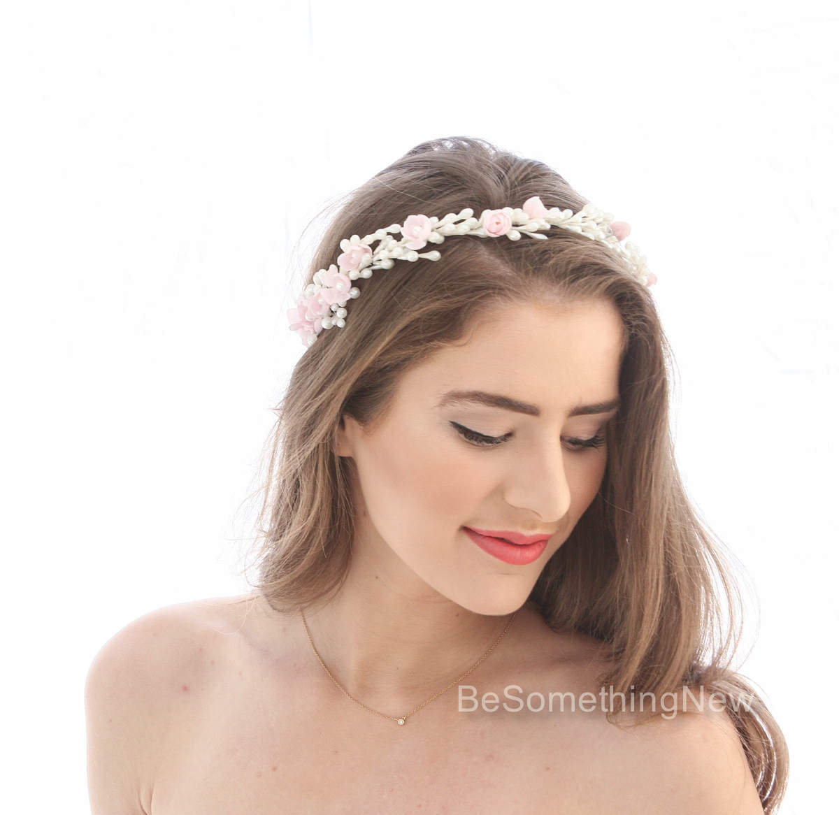Cherry Blossom and Vintage Wax Flower Crown Wedding Headpiece, Wax Bud Vintage Bridal Halo with Pink Vintage Flowers, Pearl Wedding Tiara – Be Something New