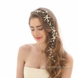 Extra Long Starfish Wedding Hair Vine Beaded Bridal Headpiece with Pearls Rhinestones, Destination Wedding, beach wedding bridal headpie