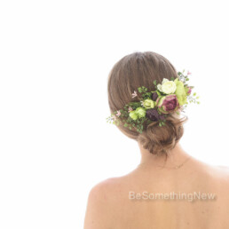 Large Flower Hair Comb in Greenery Pink and Burgundy, Wedding Hair Comb for the Back of your Hair, Fern and Flower Wedding Hair Accessory