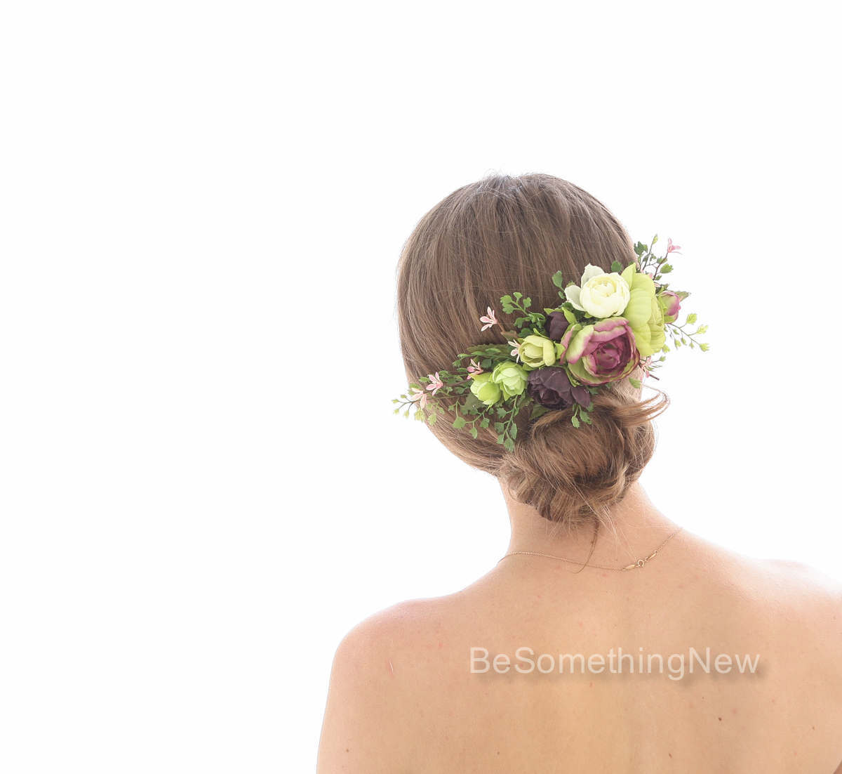 Large Flower Hair Comb in Greenery Pink and Burgundy, Wedding Hair Comb for the Back of your Hair, Fern and Flower Wedding Hair Accessory – Be Something New