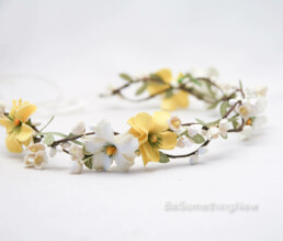 Yellow and Ivory Daisy Flower Crown with Green Leaves, Yellow Floral Halo.