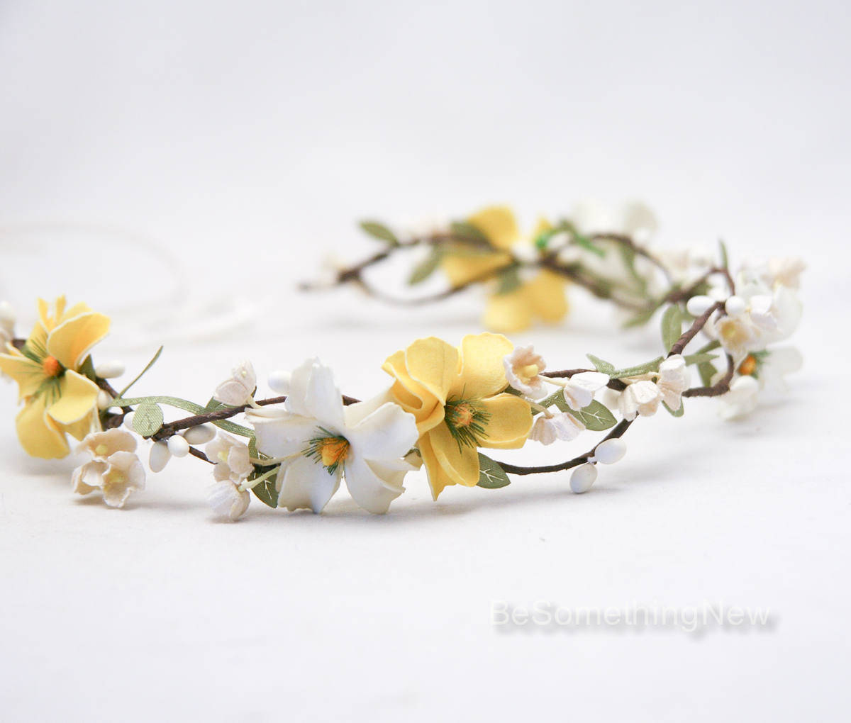 flower crown of yellow and ivory flowers wedding hair daisy floral halo boho wedding bridesmaid. Black Bedroom Furniture Sets. Home Design Ideas