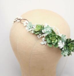 succulent flower crown wedding headpiece, halo wreath bridal bridesmaids weddings headpiece