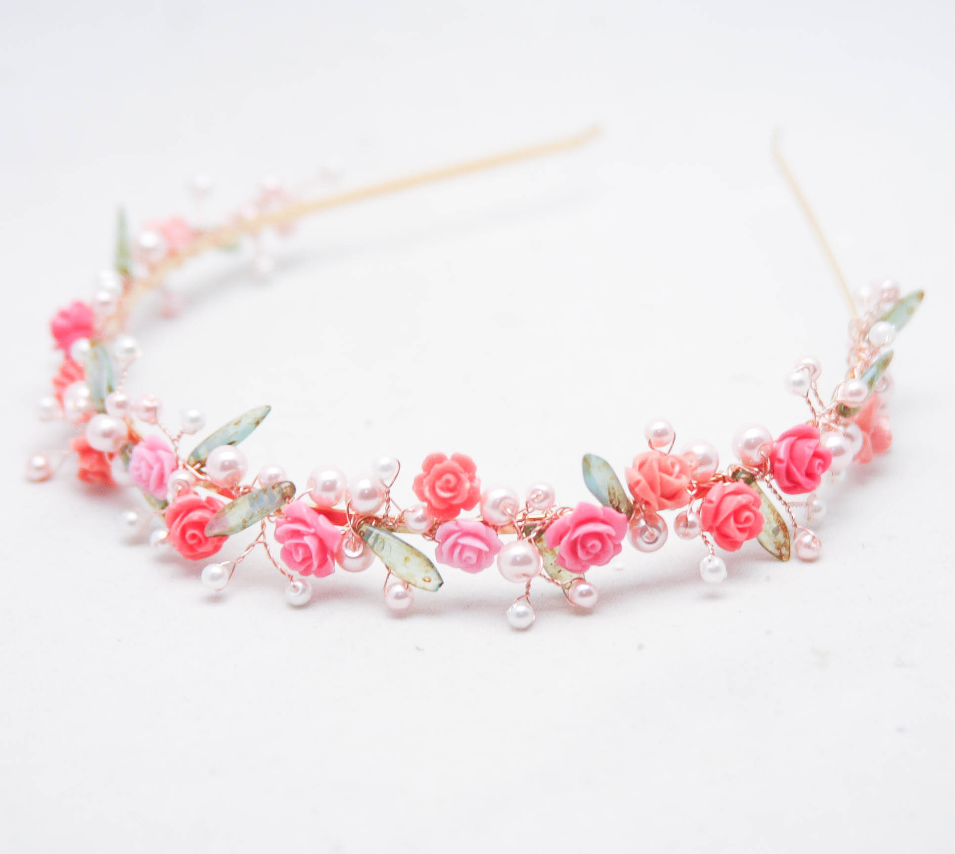 76af0c023ba Flower Wedding Tiara in Pink Rose Gold   Green