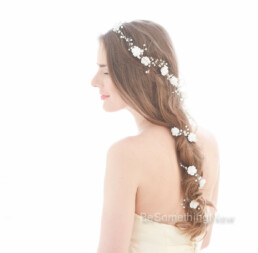 hair vine, extra long, wired pearls and rhinestones flower crown wedding headpiece