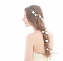 hair vine, extra long, wired pearls and rhinestones flower crown wedding headpiece