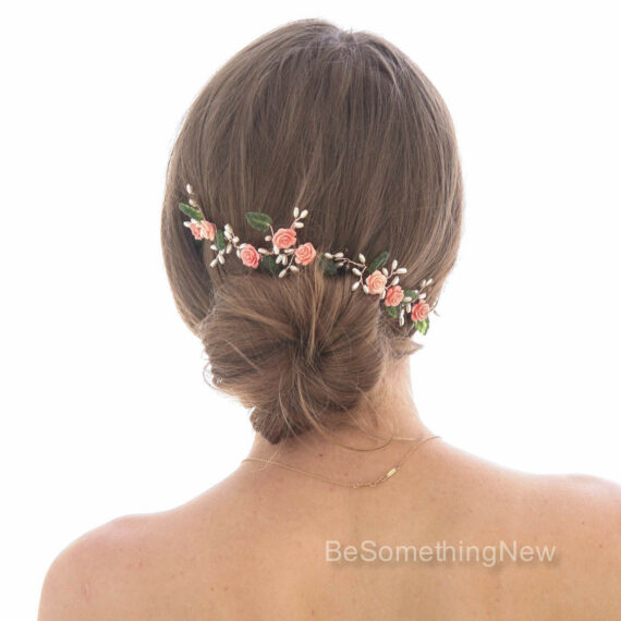 Wedding Hair Vine of Coral Roses Green Leaves and Pearls on Rose Gold Wire