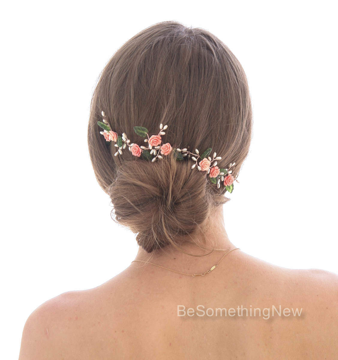 wedding hair vine of coral roses green leaves and pearls rose gold wedding hair jewelry flower. Black Bedroom Furniture Sets. Home Design Ideas