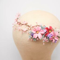 pink flower crown floral air vine wedding hair accessory bridesmaids hair, flower girl wreath halo photo shoot