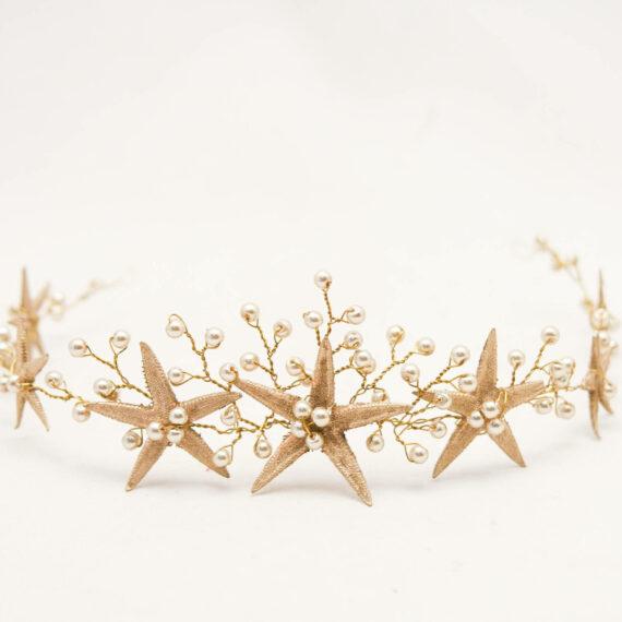 Gold Starfish Wedding Crown Beach Wedding Headpiece, Star Fish Headband