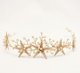 Gold Starfish Wedding Crown Beach Wedding Headpiece, Star Fish Headband