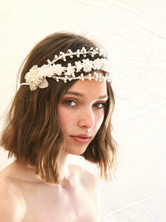 flower crown, vintage flower headpiece, bridal headband, wedding hair