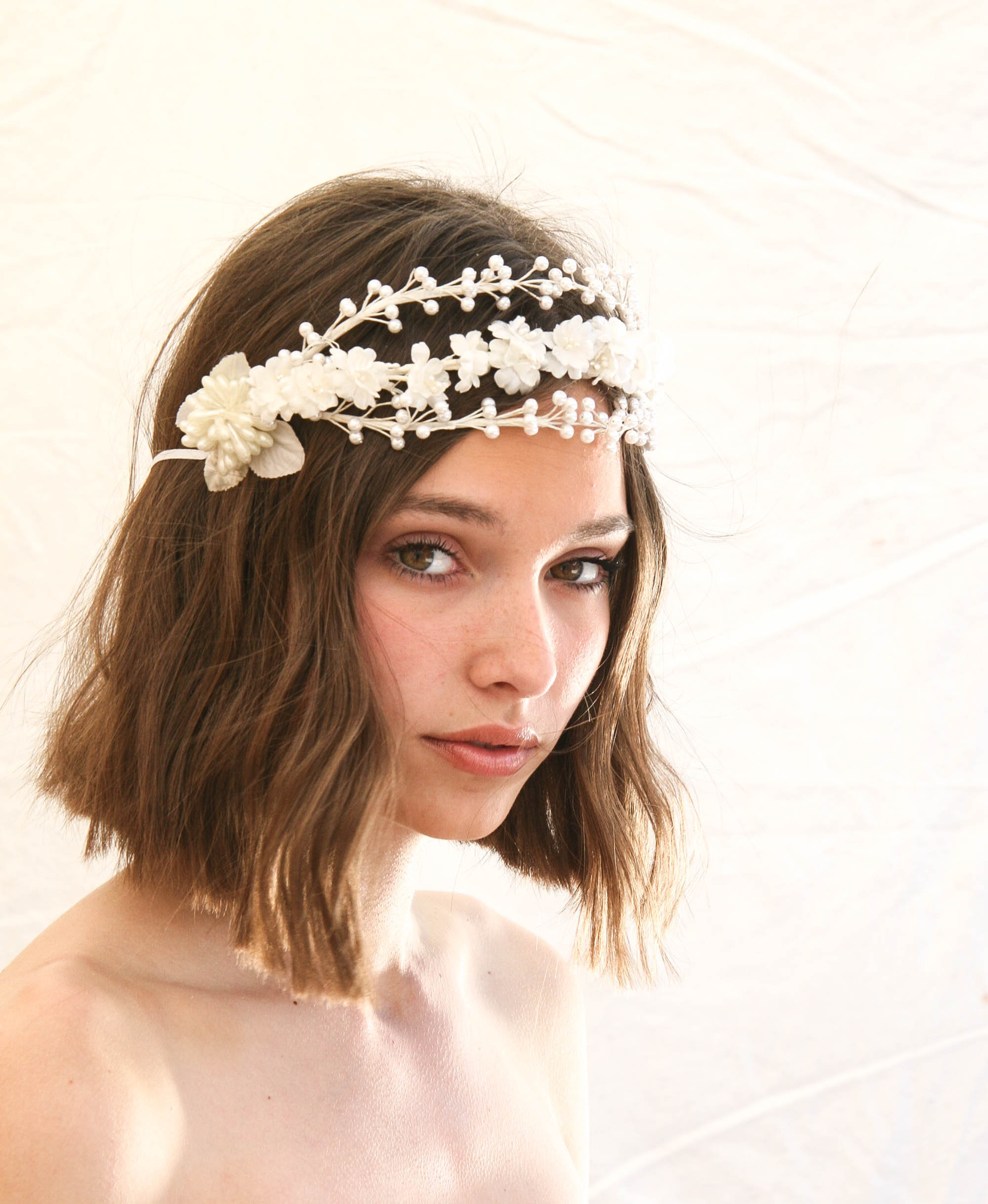 Vintage Wax And Silk Flower Triple Band Headpiece Bridal