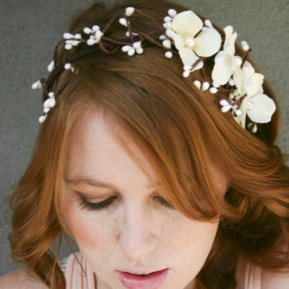 woodland flower crown wedding headpiece rustic wedding headband ivory flower headpiece