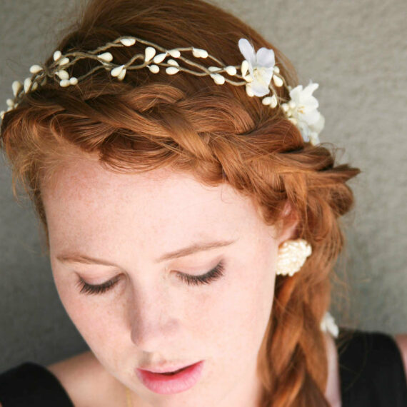 woodland flower crown pip berry wreath bridesmaids halo headpiece back yard wedding boho