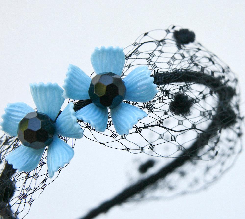Black Net Headband With Vintage Blue Flowers Floral Headband