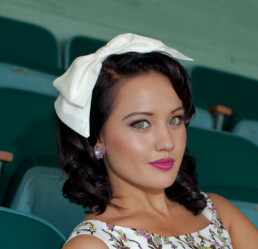 big bow headband ivory bow 50's style hair band wedding bow headpiece