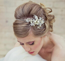 Silver Rhinestone Tiara of Flowers and Pearls.