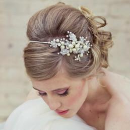 Silver Rhinestone Tiara of Flowers and Pearls.