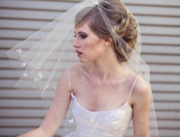 two their wedding veil with scattered flowers and pearls fingertip veil blusher veil beaded veil