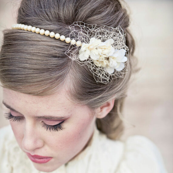 wedding pearl headband with vintage netting and flowers