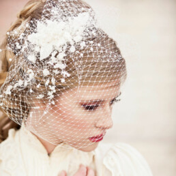 ivory birdcage veil with vintage flowers and pearls