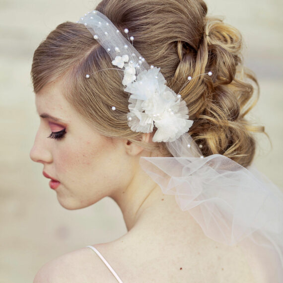 veil, wedding headband vintage flowers ties in the back net bow net headband wedding hair bridal headpiece
