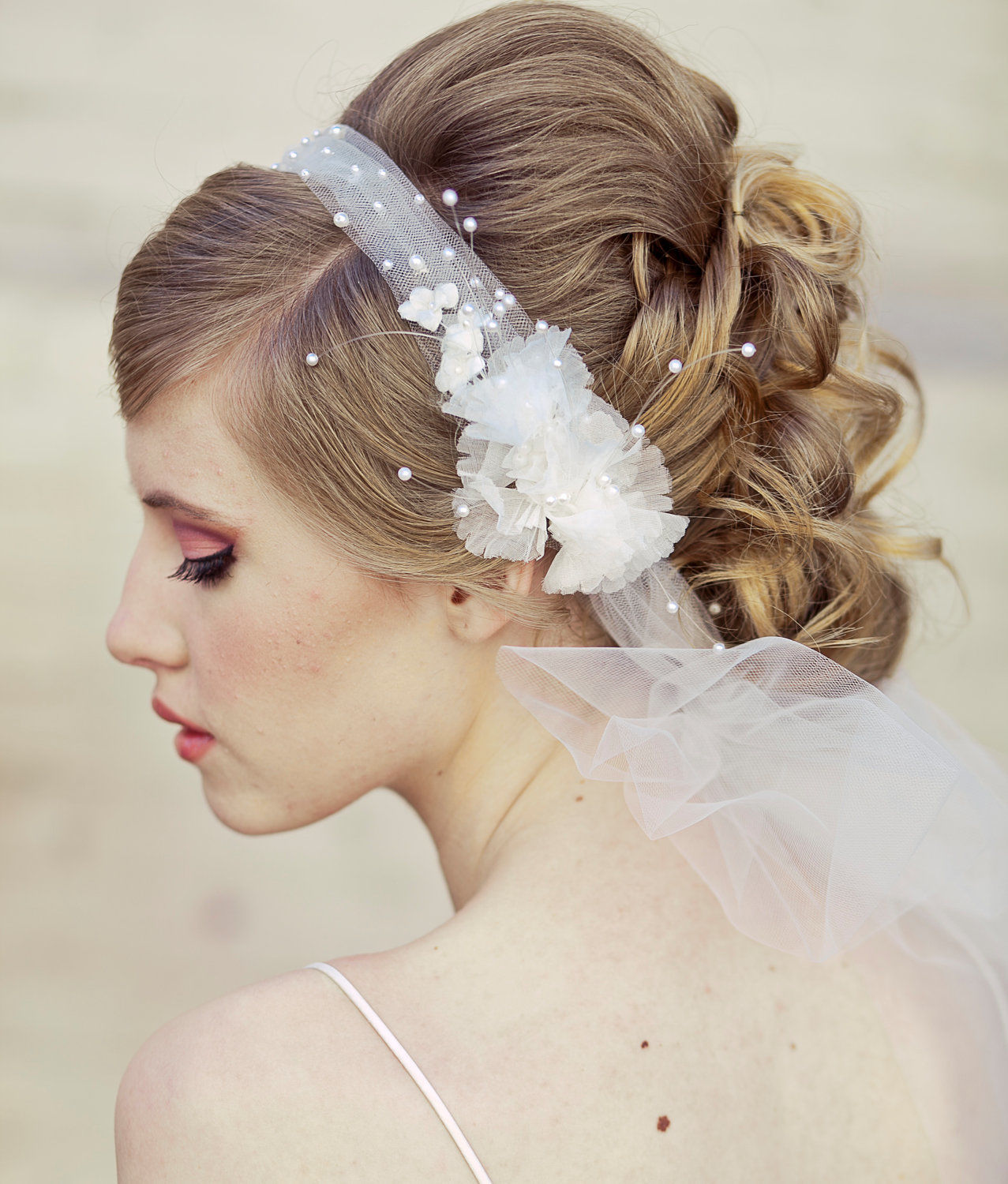 Wedding Hairstyle With Headband: Wedding Veil Tie Headband Of Net And Vintage Flowers