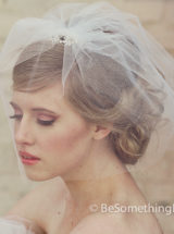 Brides Short Wedding birdcage tule veil with rhinestones