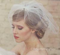Brides Short Wedding birdcage tule veil with rhinestones