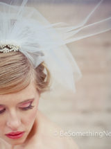 Bridal Short Wedding birdcage tule veil