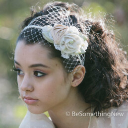 wedding headband of fabric roses and lace in ivory and blush with green leaves, bridal headpiece with netting and flowers fancy headband