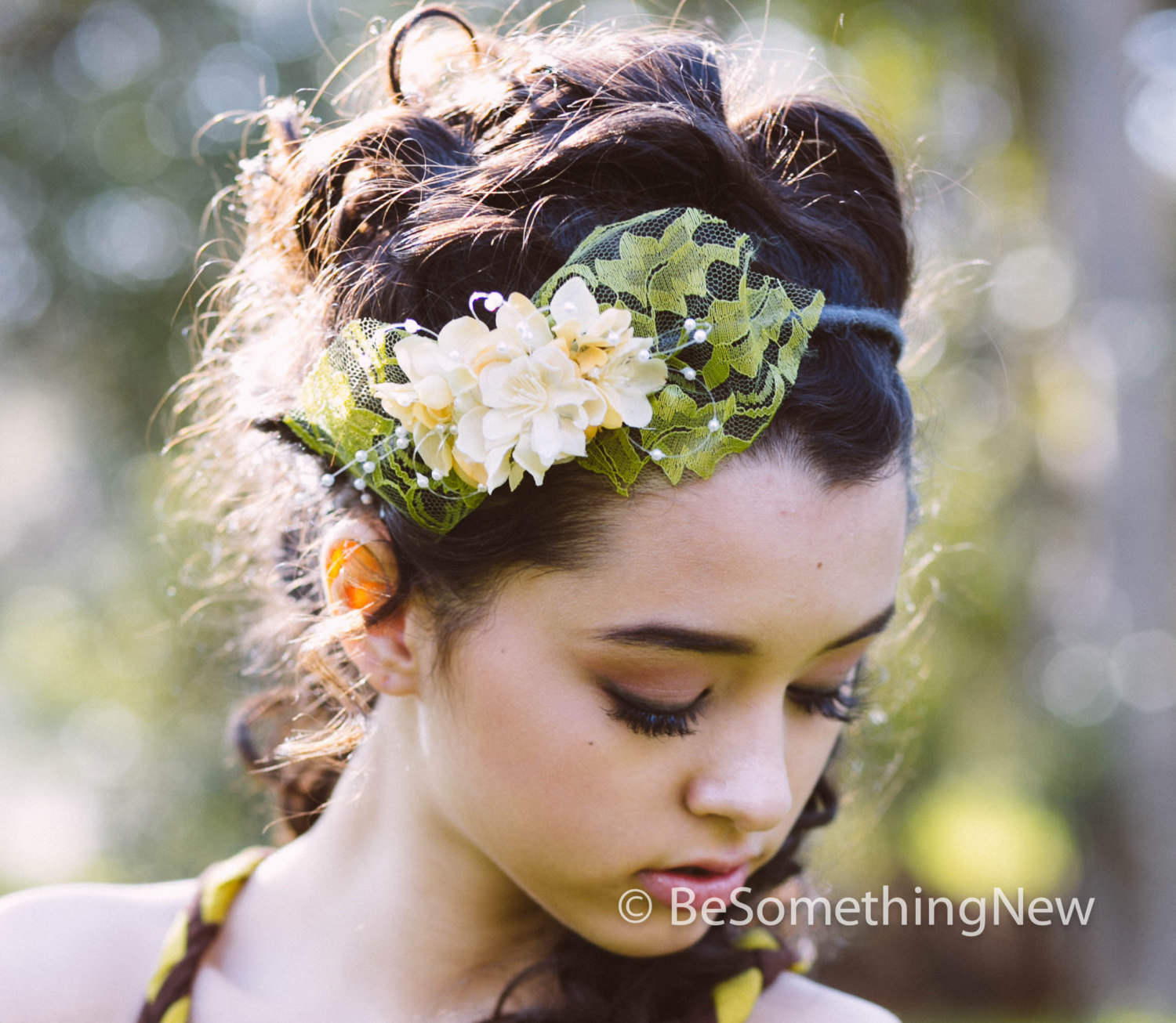 Flower Crown Headband Lace and Flowers Spring Headband 5310d97082e