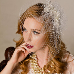 Pearl and Flower Birdcage Veil Wedding Headpiece with pearls, wedding headpiece