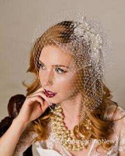 Pearl and Flower Birdcage Veil Wedding Headpiece with pearls, wedding headpiece