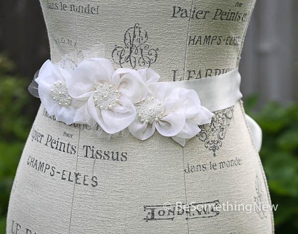 Bridal Dress Sash Silk Organza Flowers And Pearls Wedding Belts