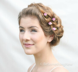 pink wedding hair flower bobby pins hair flowers bridesmaid hair accessories