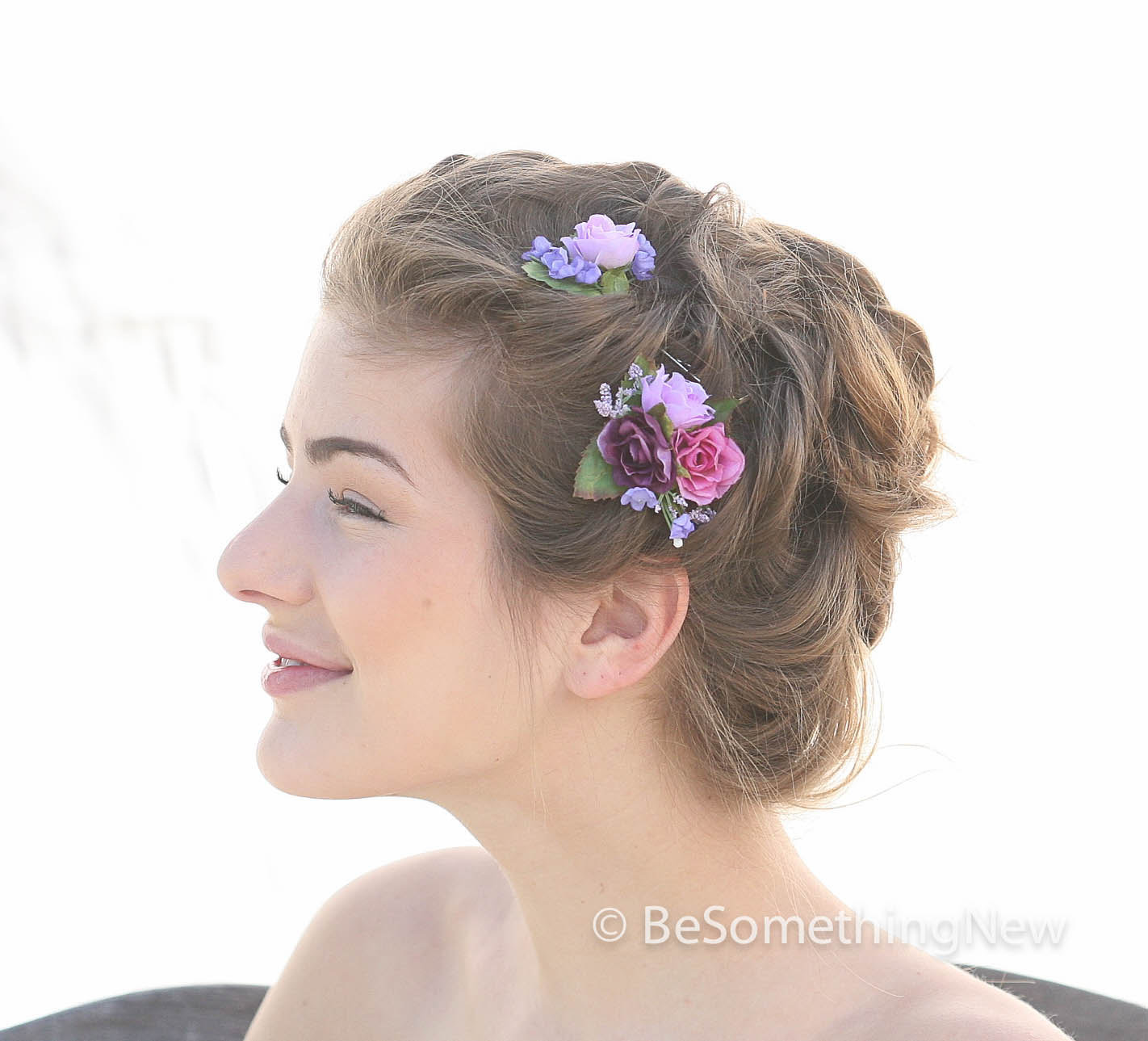 Flower hair pin set is in shades of pink, lavender and wine. wedding hair acceassory flower hair pins