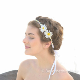 dais headband yellow and white flower crown headband of daisy lace and silk flowers
